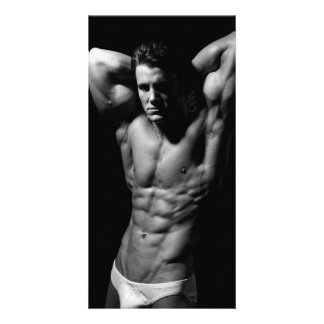 Ripped Male Fitness Model Rack Card Photo Greeting Card