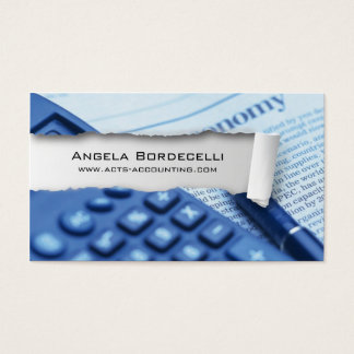Ripped Paper Accounting White Business Card