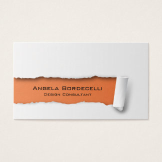 Ripped Paper Orange Business Card