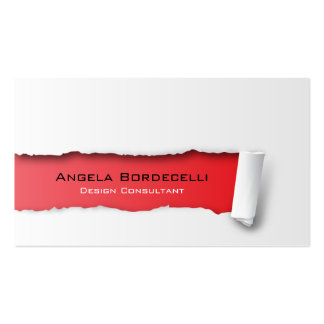 Ripped Paper Red Business Card