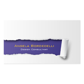 Ripped Paper Violet Business Card