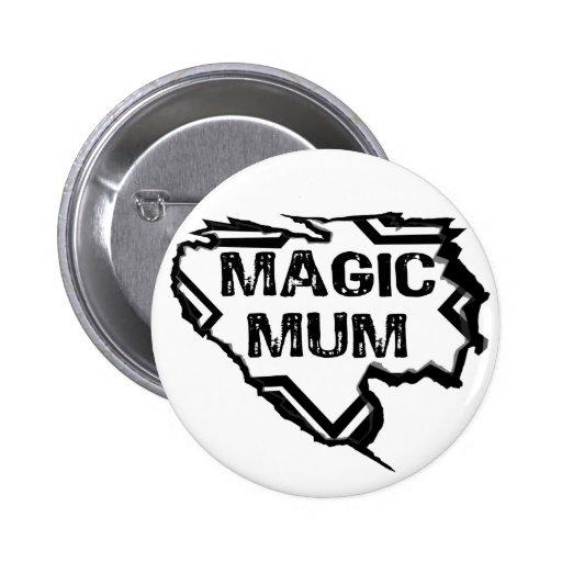 Ripped  Star- Super Magic Mum - Black Pinback Buttons
