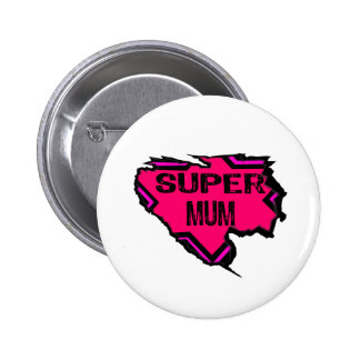 Ripped Star Super Mum-Back Text Pinks Buttons