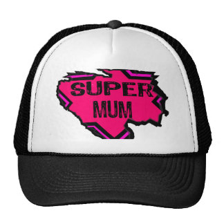 Ripped Star Super Mum-Back Text Pinks Mesh Hat