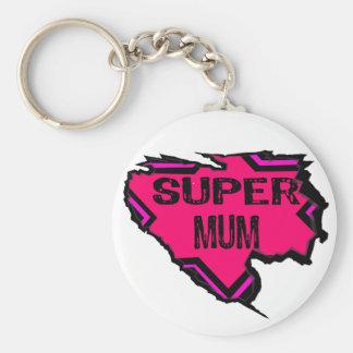 Ripped Star Super Mum-Back Text Pinks Key Chain