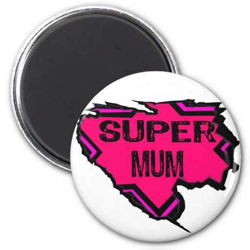 Ripped Star Super Mum-Back Text/  Pinks Magnets