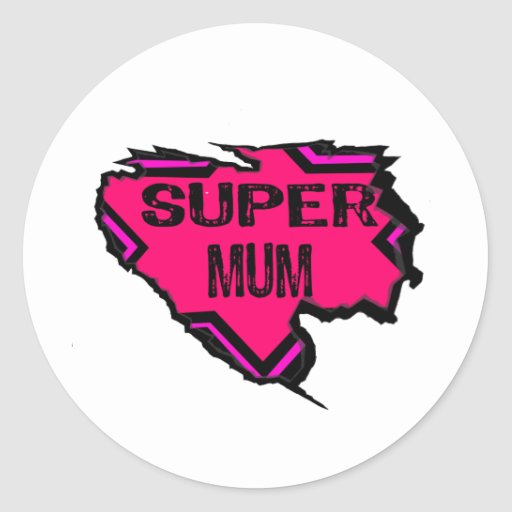 Ripped Star Super Mum-Back Text/  Pinks Round Stickers