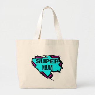 Ripped Star- Super mum- Black light blue pink Tote Bag