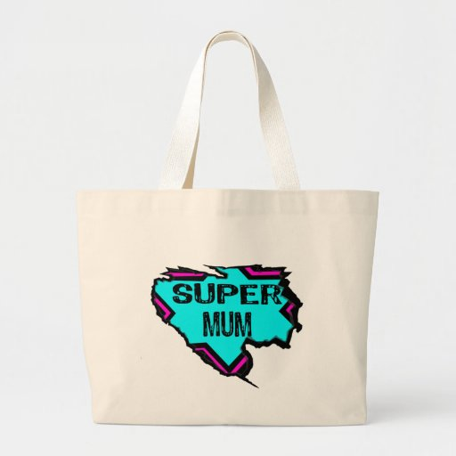 Ripped Star- Super mum- Black/ light blue/pink Tote Bag