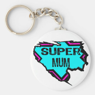 Ripped Star- Super mum- Black/ light blue/pink Basic Round Button Key Ring