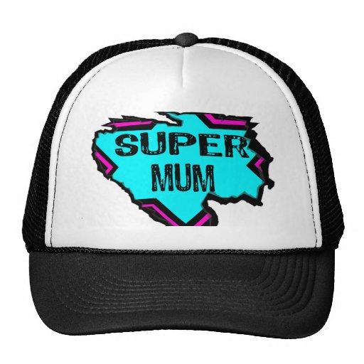 Ripped Star- Super mum- Black/ light blue/pink Mesh Hats
