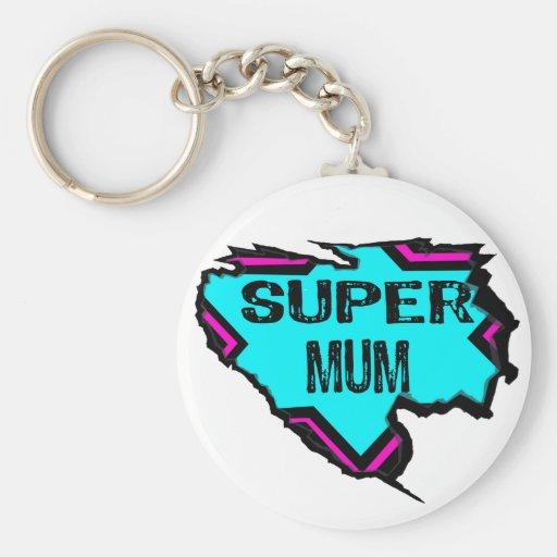 Ripped Star- Super mum- Black/ light blue/pink Keychains