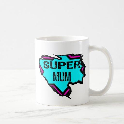 Ripped Star- Super mum- Black/ light blue/pink Coffee Mug