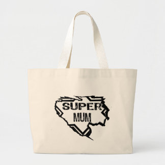 Ripped Star -Super Mum-Black Text Black Canvas Bag