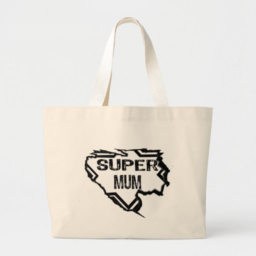 Ripped Star -Super Mum-Black Text/Black Canvas Bag