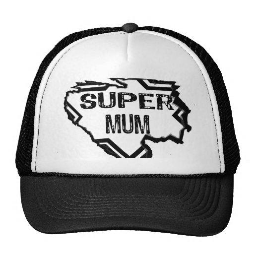 Ripped Star -Super Mum-Black Text/Black Hat