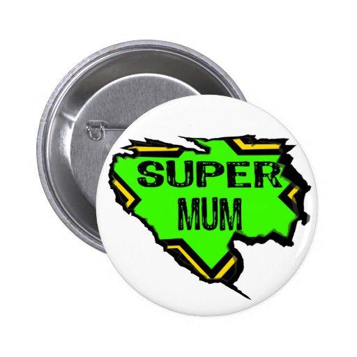 Ripped Star Super mum- Black Text/ Green/Yellow Buttons