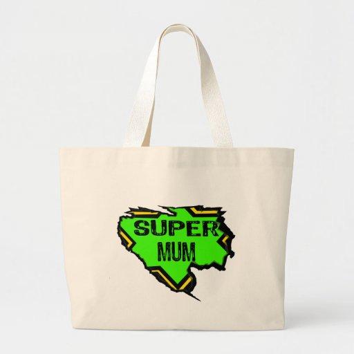 Ripped Star Super mum- Black Text/ Green/Yellow Bag