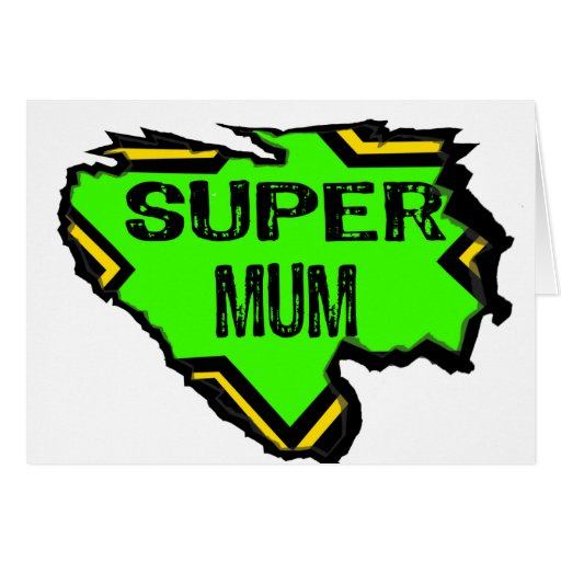 Ripped Star Super mum- Black Text/ Green/Yellow Cards