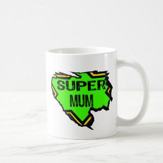Ripped Star Super mum- Black Text/ Green/Yellow Coffee Mug