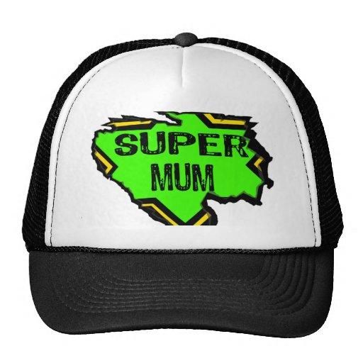 Ripped Star Super mum- Black Text/ Green/Yellow Trucker Hats