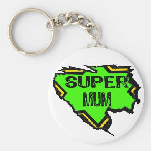 Ripped Star Super mum- Black Text/ Green/Yellow Keychains