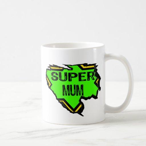 Ripped Star Super mum- Black Text/ Green/Yellow Coffee Mugs