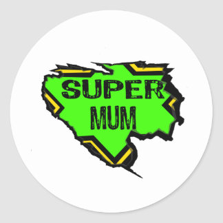 Ripped Star Super mum- Black Text/ Green/Yellow Round Sticker