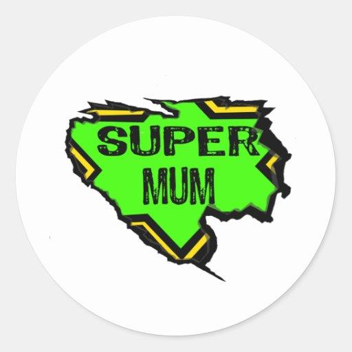 Ripped Star Super mum- Black Text/ Green/Yellow Sticker
