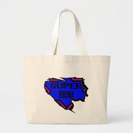 Ripped Star Super Mum - Black Text/ Pink/Purple Canvas Bag