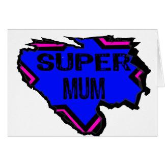 Ripped Star Super Mum - Black Text/ Pink/Purple Card