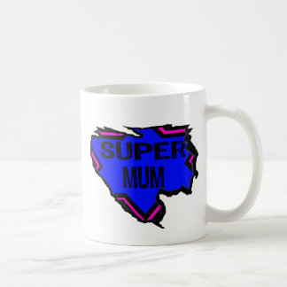 Ripped Star Super Mum - Black Text/ Pink/Purple Coffee Mug