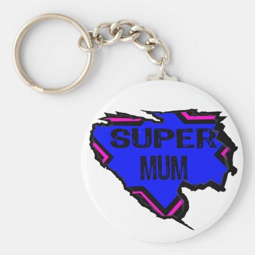 Ripped Star Super Mum - Black Text/ Pink/Purple Keychain