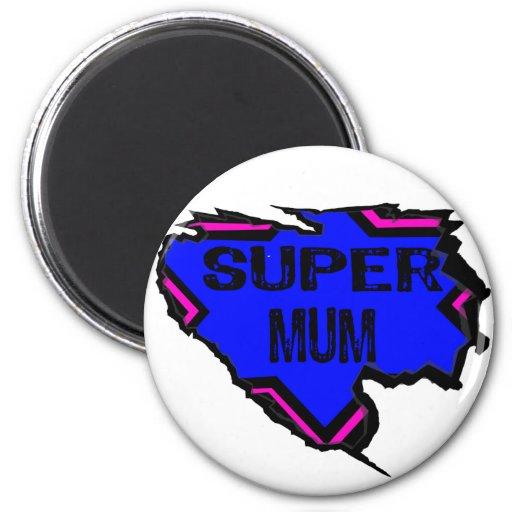 Ripped Star Super Mum - Black Text/ Pink/Purple Refrigerator Magnets