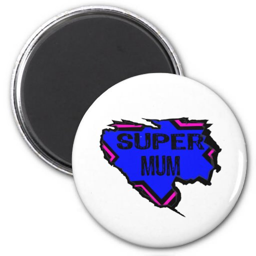 Ripped Star Super Mum - Black Text/ Pink/Purple Magnets