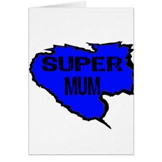 Ripped Super Mum- Black Text/ Purple Greeting Card