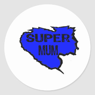 Ripped Super Mum- Black Text/ Purple Round Sticker