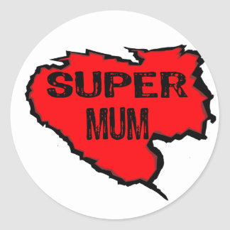 Ripped Super Mum- Black Text/ Red Round Sticker