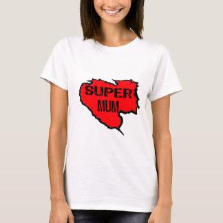 Ripped Super Mum- Black Text/ Red T-Shirt