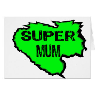 Ripped Super Mum- Green Text Black Greeting Cards