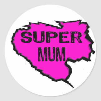 Ripped- Super mum -Pink/ Black Outline Round Sticker