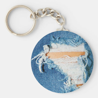 Ripped Torn Denim Blue Jeans Basic Round Button Key Ring