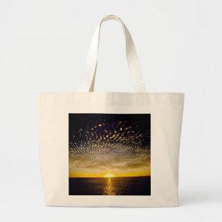 rippled-cloud-sunset beach bag