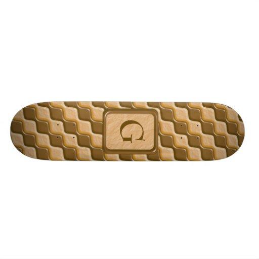 Rippled Diamonds - Chocolate Peanut Butter Custom Skateboard