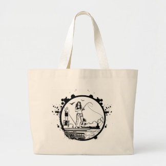Ripples & NIbbles fishing outfitter logo Large Tote Bag