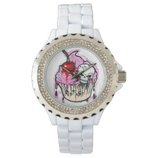 RipToRn Skull Cupcake Bling Watch. White Watch