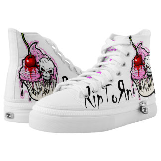 RipToRn Skull Cupcake Hi-Tops. White Printed Shoes