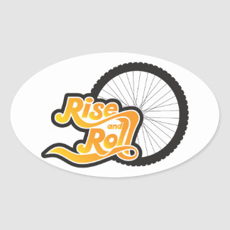 rise and roll cyclist oval sticker