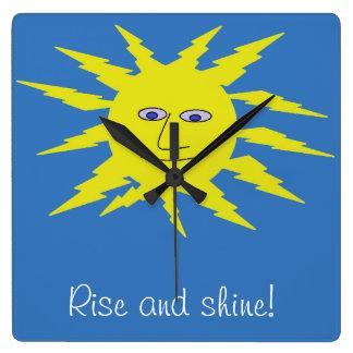 Rise and shine Cool Sun Face Design Blue Square Wall Clock