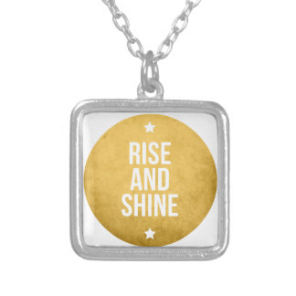 Rise and shine text design word art custom necklace